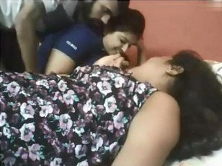 Beautiful desi young two gril and one boy with fucked romance