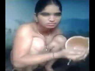 Beautiful village aunty nude bath capture