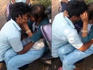 indian cute collage lover out side kissing