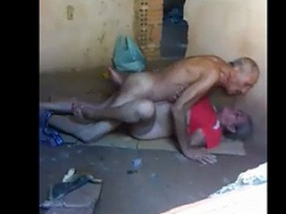 Old desi Indian grandfather grandmother couple caught having Sex outdoors