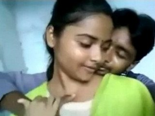 Hot Desi College Girl Kissing With Lover and Boob Press