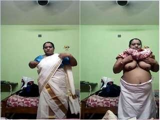 Today Exclusive- Desi Mallu Aunty Record her Cloths Changing Video For Hubby