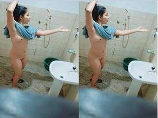 Today Exclusive- Sexy Lankan Girl After Bathing Video Record By Hidden Cam