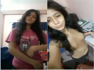 Exclusive-  Desi Girl Showing Her Boobs to Lover