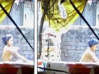 Desi girl outdoor bath caught by hidden cam