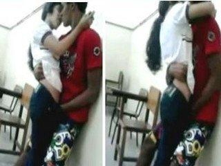 boyfriend girlfriend standing fun in classroom