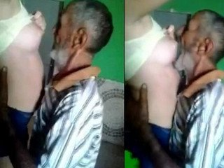 old man with cute girl kissing boobs