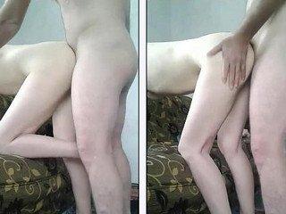 Fucking slim girlfriend on sofa