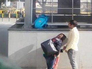 Indian Couple Outdoor Sucking near Delhi Metro Station