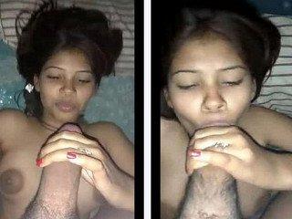 Desi teen girlfriend sucking Bf huge cock