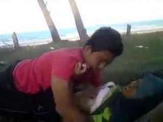 Malay teenage couple romance at park