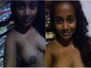 Today Exclusive- Cute Lankan Girl Showing Her Boobs