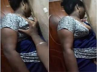 Today Exclusive-Tamil maid Brest Pressing By House Owner