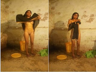 Exclusive- Desi village Girl Bathing Capture  By lover