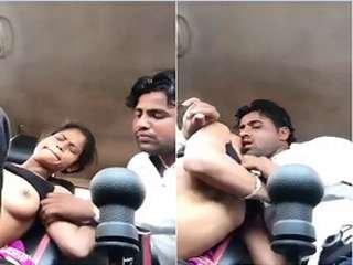 Today Exclusive- Sexy Desi Girl Boob Sucking On Car