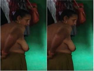 Today Exclusive- Desi Boudi Wearing Cloths after Bathing Part 3