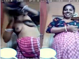 Today Exclusive- Desi Boudi Changing Cloths On Video Call