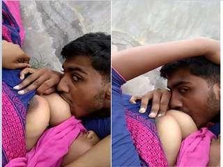 Exclusive- Desi Girl Boob Sucking By lover Outdoor