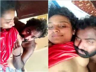 Today Exclusive- Desi Mallu Gf Boob Sucking and Pussy Licking By Lover