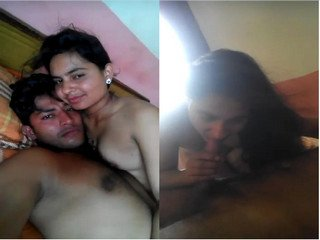 Exclusive- Super Cute Indian Lover Kissing and Blowjob part 2