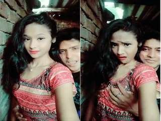 Exclusive- Cute Look Desi Girl Brest Pressing By Lover