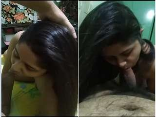 Today Exclusive-Sexy Desi Bhabhi Gives Nice Blowjob To Hubby
