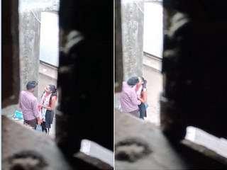 Today Exclusive- Desi Lover OutDoor Kissing Capture By Hidden Cam